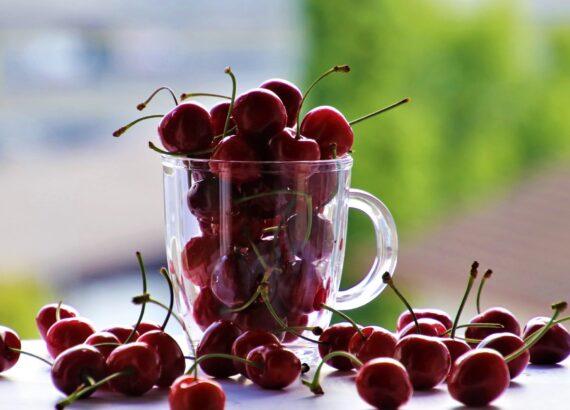 Cherries Fruit The Cup Glass Snacks Dessert