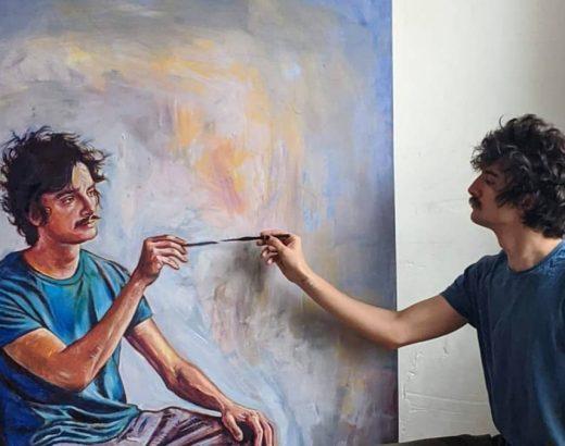 man doing art